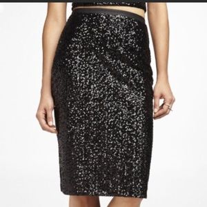 Express black sequin pencil skirt